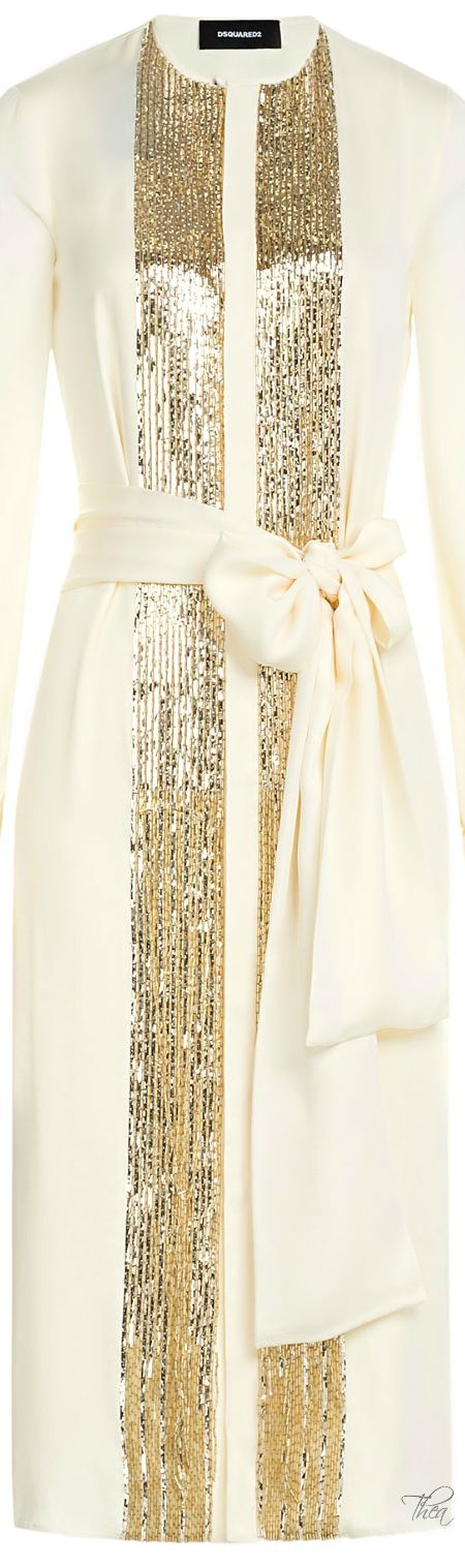 DSquared2 ● Ivory & Gold silk dress