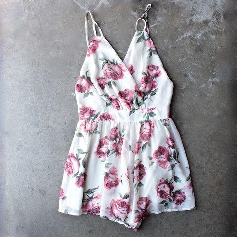 open back soft romantic floral romper - cream - shophearts - 1