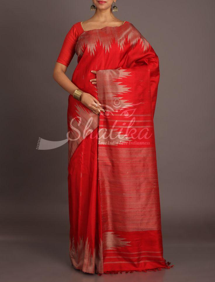 Payal Bold Red Temple Bordered Ravishing Jute Silk Saree