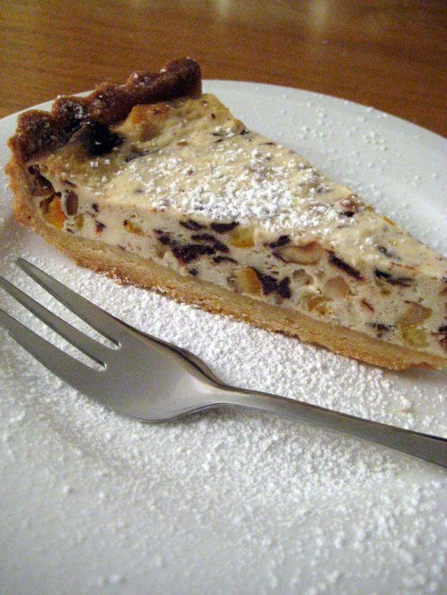 Sicilian ricotta cheesecake with chocolate, orange and hazelnuts