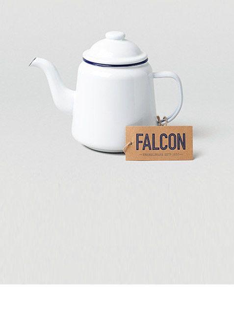 Falcon Enamelware Emaille Teekanne Weiß Blau