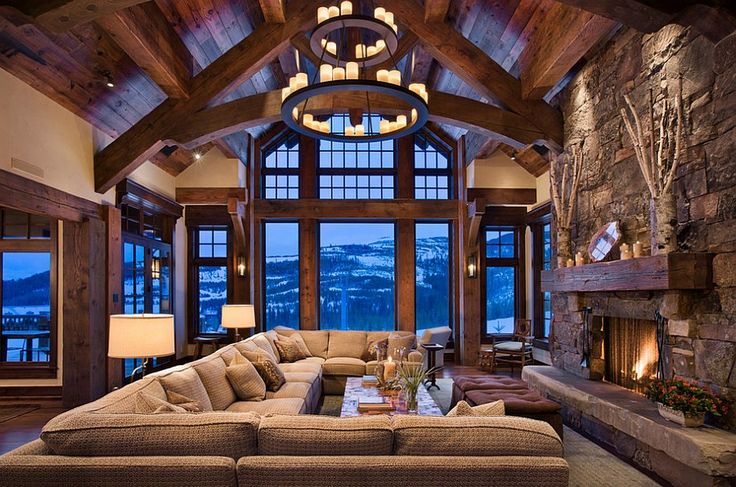 Chalet style living room has an imposing presence - Decoist