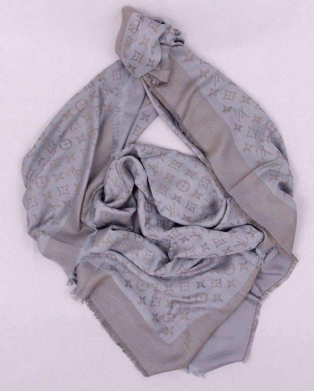 Платок-палантин Louis Vuitton широкий (шелк + шерсть + металлический люрекс) цвет серый