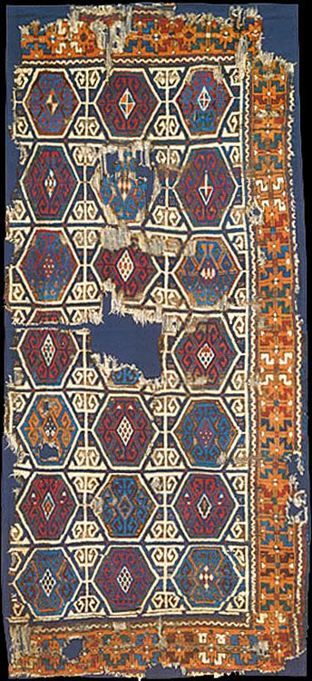 OTTOMAN CARPETS IN THE XVI - XVII CENTURIES (16-17TH CENTURIES)  Anatolian rug fragment, XVII-XVIII century, published at 'Antique Rugs of Kurdistan – A Historical Legacy of Woven Art'