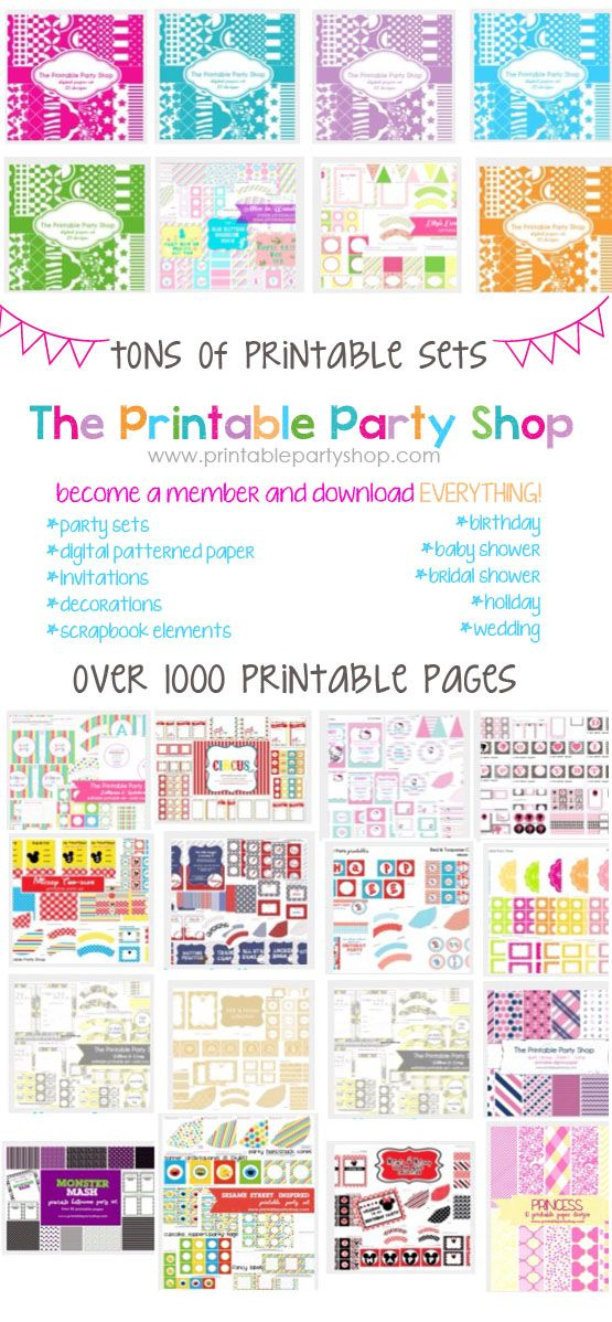 Tons of printables-  birthday party, baby shower, wedding, scrapbook, digital paper designs www.printablepartyshop.com  Lots of fun themes- princess, pirate, circus, candy, baseball, hello kitty, elmo, sesame street, harry potter, rainbow, monster, minnie mickey, christmas, valentines