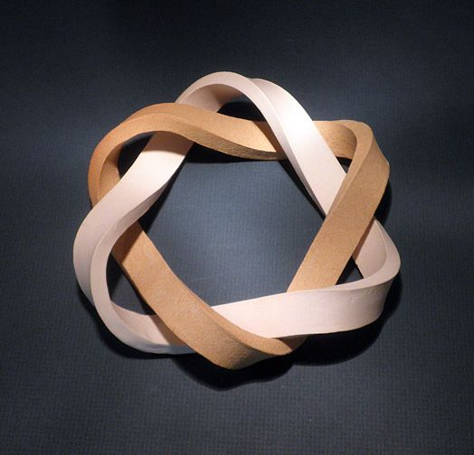 Six-crossing Link Two loops, made using two different types of clay, are linked together. Each loop has three half-twists.