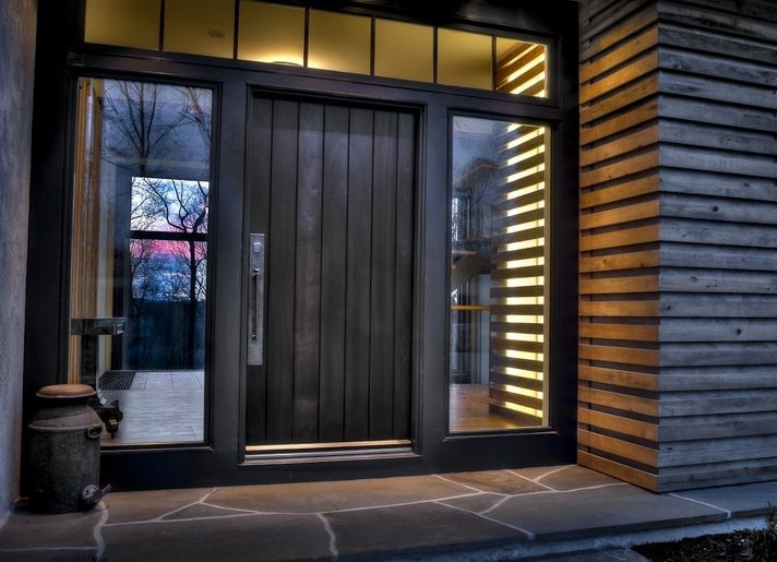 Contemporary Front Door Designs With Large Stainless Steel