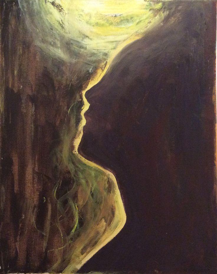 """From dark light dark. """"Pimeydestä valoon pimeään"""" 2017/12 , acrylic paint"""