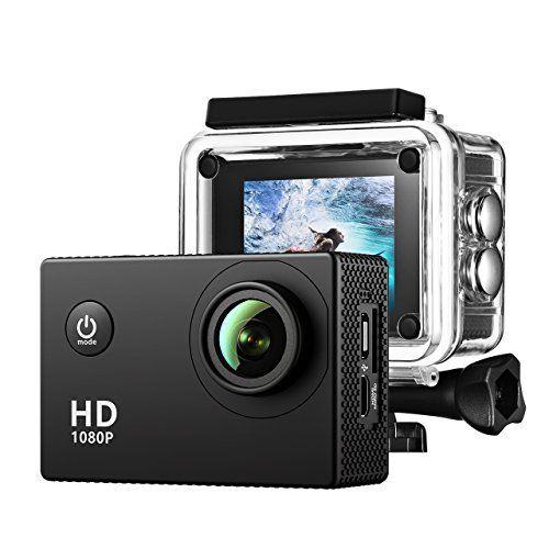 VTIN Caméra de Sport et Action Haute Définition Full HD 1080p 12MP 30M Étanche Caméscope d'action 170 degrée Multifonction Caméra Embarquée…