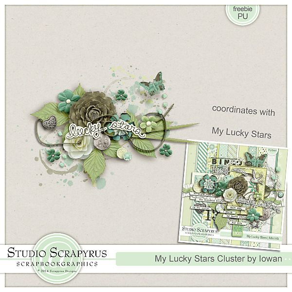My Lucky Stars newsletter Freebie. Sign up to Scrapyrus Designs's newsletter so that you don't miss our next newsletter freebie!