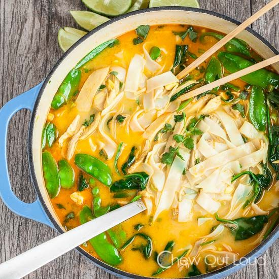 This Thai-inspired Coconut Curry Chicken Noodle Soup is both healthy and 100% delicious! It's light, flavorful, and perfect for chilly evenings.