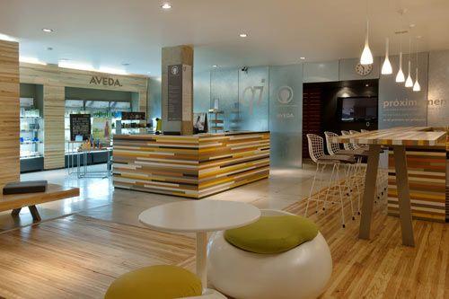 Qi Wellness Center Lobby by Manada Architecture Studio in interior design architecture  Category (Pendant lighting along counter -B) http://design-milk.com/qi-wellness-center-lobby-by-manada-architecture-studio/