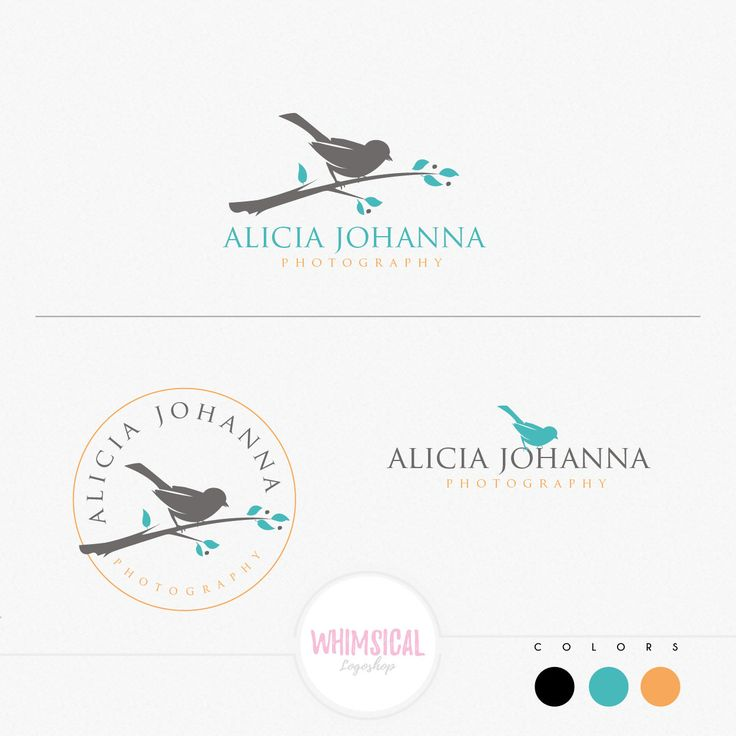 bird on a branch logo -Watercolor Logo Branding Package feminine Logo children boutique - Photographer package logo Script Watercolor Logo