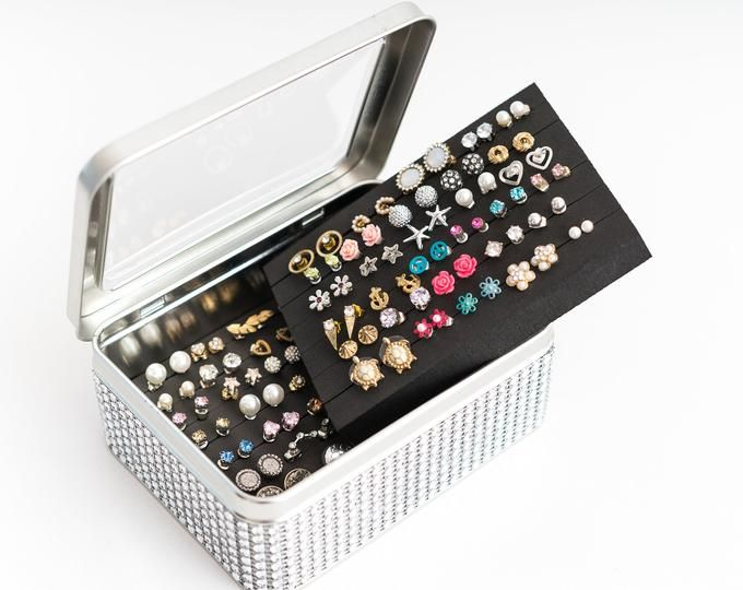 Tin Jewelry Box Earring Holder Travel Jewelry Box Earring Organizer Gift For Her Birthday Gift Travel Jewelry Box Earring Holder Stud Earring Organizer