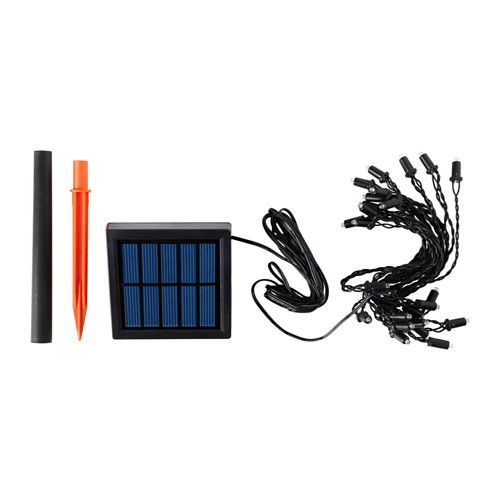 SOLARVET LED outdoor, solar-powered, lighting chain with 24 lights. $12.99 / covers sold separately IKEA