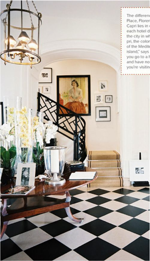 Chippendale staircase, lantern, arch, black and white floor, yes yes yes