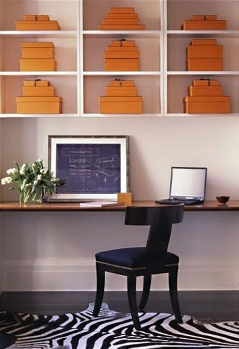 this is EXACTLY my dream office!: Decor, Orange, Interior, Hermes Boxes, Workspace, Work Spaces, Desk