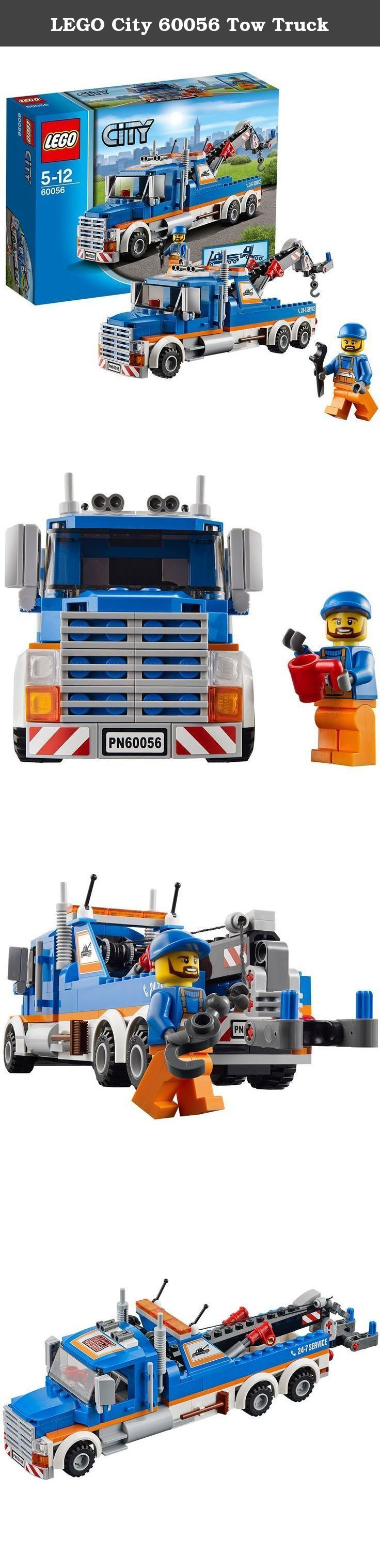 LEGO City 60056 Tow Truck. When the biggest trucks in LEGO City break down, it's time to call in the heavy-duty Tow Truck! Lower the crane arm, attach the working winch and grab the stricken vehicle to secure it. There's just time for a quick clean up with the broom, then jump the driver back in the driving seat and tow the vehicle away for repair. With the awesome Tow Truck, the LEGO City traffic will always keep moving! Collect this and all the other vehicles in the Great Vehicles…