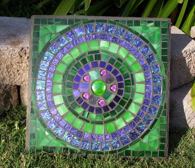 Mosaic Stepping Stone by GardenDivaDeb, via Flickr