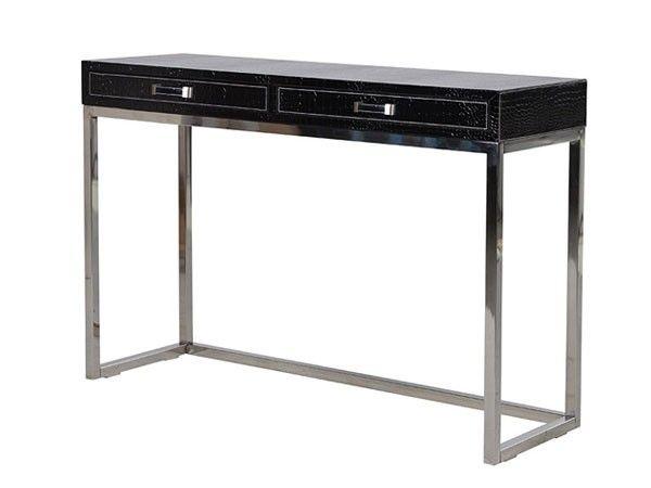Konsollbord i imitasjonsskinn, stålMål: H:760mm B: 1100mm D: 360mmArt nr: CE0141