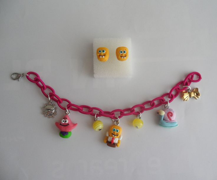 Spongebob's earrings and bracelet in fimo.  https://www.facebook.com/ipasticcidistefy  http://www.alittlemarket.it/boutique/ipasticcidistefy-465031.html