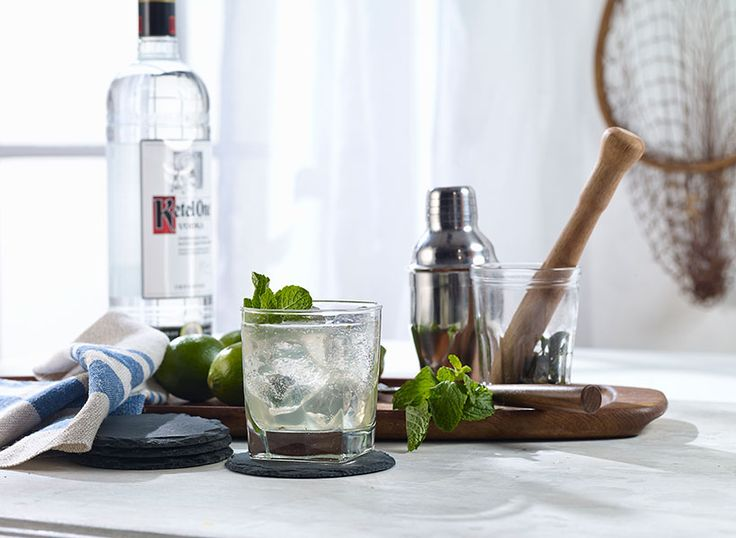 Try a Minted Man, a simple vodka drink recipe using Ketel One® Vodka, fresh lime, simple syrup, mint and club soda.