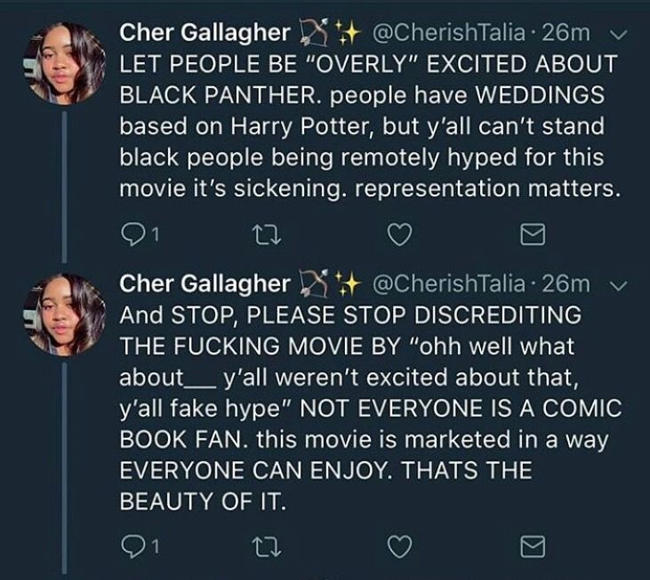 Come on now, let us enjoy this ONE movie, the one movie where black representation isn't the hired help, isn't a slave, isn't someone whose being negatively affected segregation. Just let us have this ONE bit of representation where we're kings, queens, princesses, and HEROES and not subservient and beaten down by oppression. Let us have it.