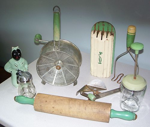 1930s Green Wood Handle Farm Kitchen Utensils, A&J, Foley