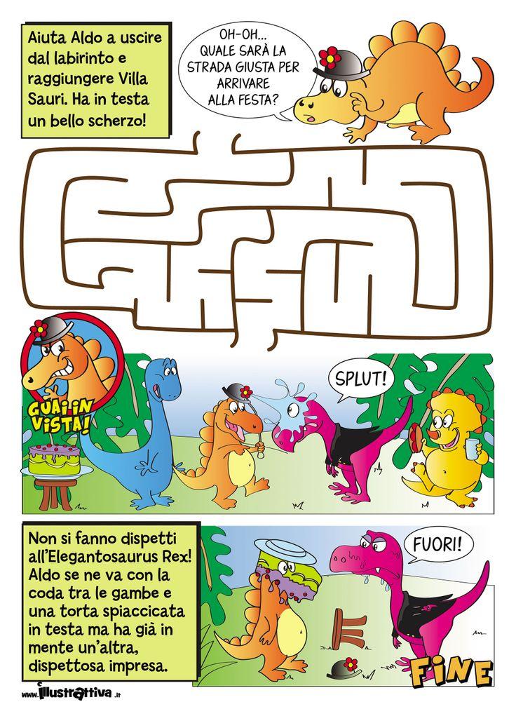Il Dispettosauro, storia e #gioco #stampabile per bambini gratis - Free #printable story and #games for kids