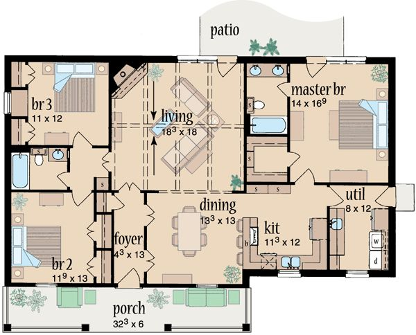 Country style house plans 1573 square foot home 1 for 40x40 2 story house plans