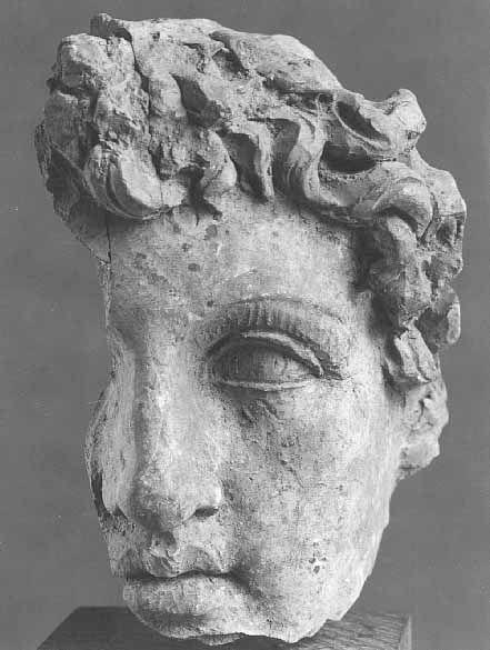 Fragment de masque d'éphèbe; 150-100 avant J.-C.; H.: 10,50 cm; Département des Antiquités grecques, étrusques et romaines   Musée du Louvre