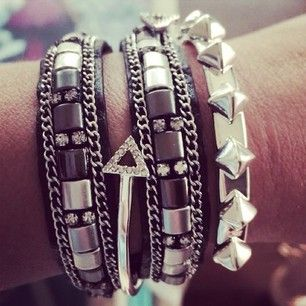 ORDER at www.stelladot.com/sites/snelson  Love this new #stelladotstyle silver & black arm party. The studded cuff adds lovely texture and the leather on the Cady Wrap is top of the line.| Stella Dot