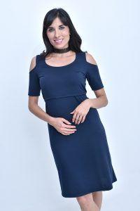 Vestido para Lactancia Hombro Descubierto Manga Corta Color Azul   Coco Maternity - Ropa Lactancia y Embarazo