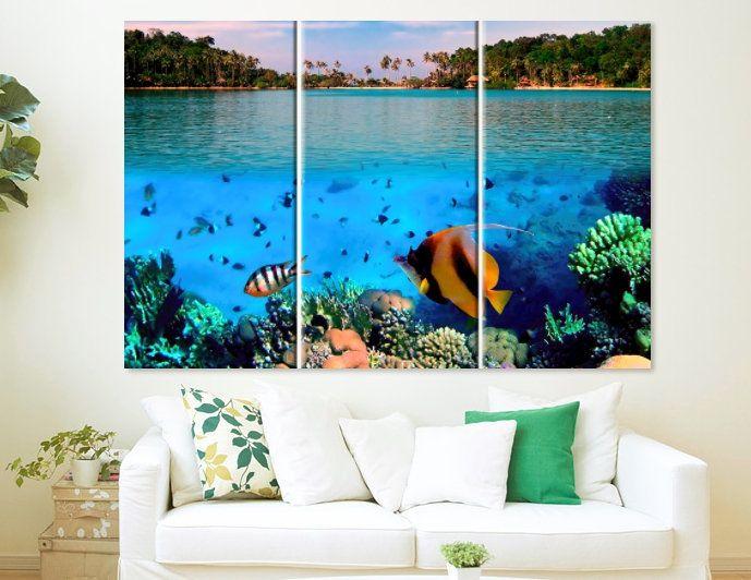 Underwater Canvas Art Ocean Print Ocean Wall Art Ocean Fish