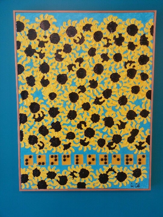 Guy Cobb - textured art with Braille caption in the Mississippi Children's Museum.  Can anyone tell me what it says?