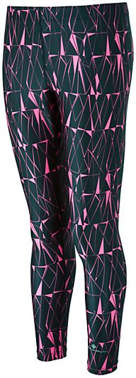 Ronhill Connect Base Print Running Tights, Black/Fluorescent Pink