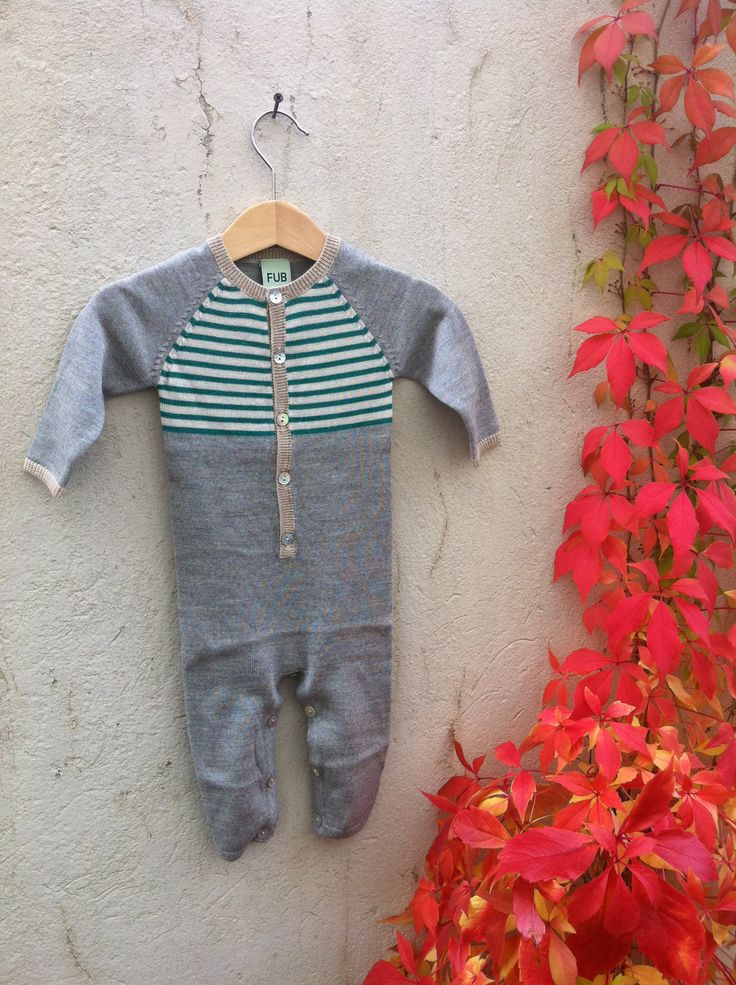 FUB - Baby bodysuit Green/Grey 100% Merino wool www.markusogmolly.no