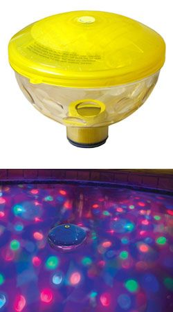 The best selling underwater light show in the world - it floats on the surface of the water and projects light and color onto the bottom and sides of the pool.       Seven (7) color changing light shows      Tether loop to anchor pool side      One (1) hour auto shut-off      Requires three (3) AA batteries (included)