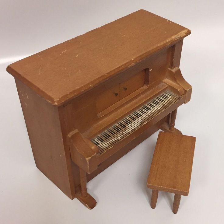 Vintage Wooden Piano Music Box with matching Seat. Cabinet on Piano opens to show music box. | eBay!