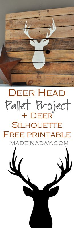 Deer Head Pallet + FREE Printable Deer Silhouette, Learn to make a Deer Silhouette Pallet and get your own free printable deer silhouette, Silhouette Cameo, on madeinaday.com More
