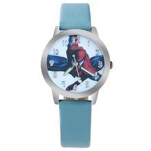2016 Caliente SpiderMan reloj lindo de dibujos animados reloj niño reloj de cuero del cuarzo del reloj regalo de los niños(China (Mainland))