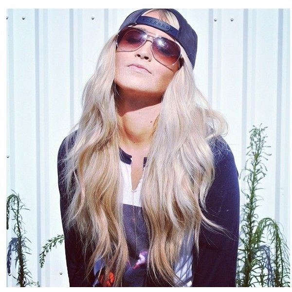 Cara loren- hair and backwards hat I'm a hat girl (backwards is best) ❤ liked on Polyvore featuring hair