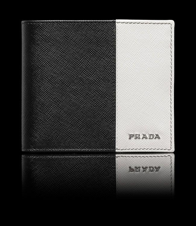 Prada Black & Chalk Men's Wallet from Prada US E-Store #Prada #PradaWallet
