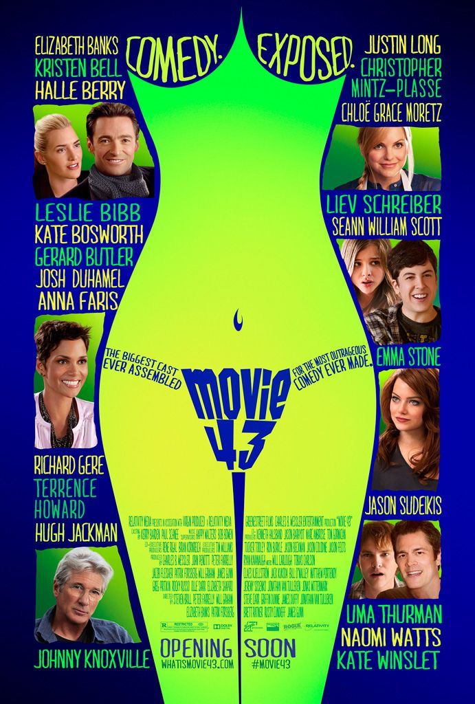 Movie 43 is a 2013 American anthology comedy film co-directed and produced by Peter Farrelly, and written by Rocky Russo and Jeremy Sosenko among others. The film features fourteen different storylines, each one by a different director, including Elizabeth Banks, Steven Brill, Steve Carr, Rusty Cundieff, James Duffy, Griffin Dunne, Patrik Forsberg, James Gunn, Bob Odenkirk, Brett Ratner, Will Graham, and Jonathan van Tulleken. https://en.wikipedia.org/wiki/Movie_43 (fr=My Movie Project)