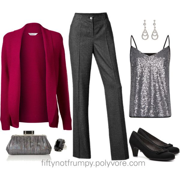 Raspberry and Charcoal by fiftynotfrumpy on Polyvore