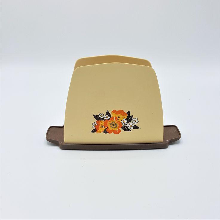 Vintage Retro Napkin Holder Orange floral napking holder with brown base Vintage Plastic orange floral napkin holder