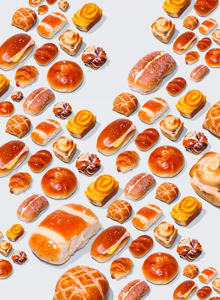 Neatly arranged pastries and other baked goods