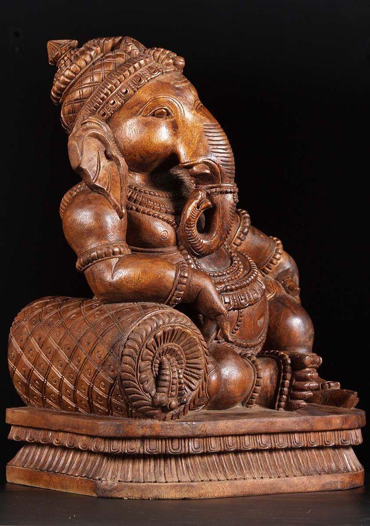 "SOLD Wooden Dhindu Ganesh Statue 24"" (#76w3a): Hindu Gods & Buddha Statues"