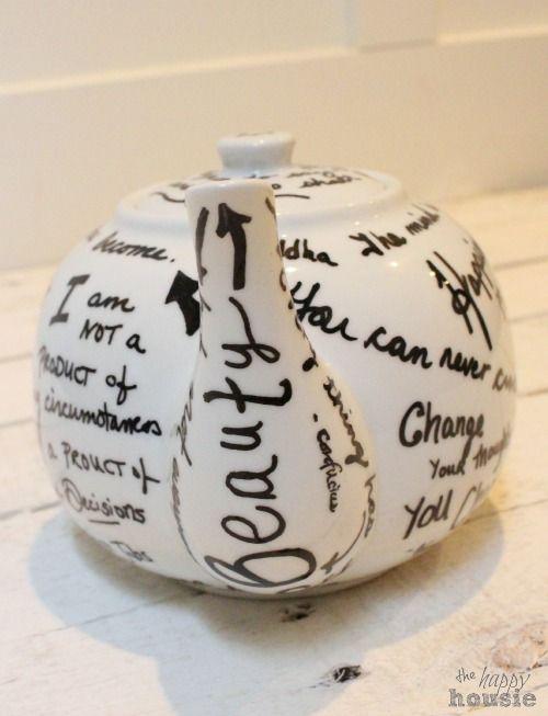 Hometalk :: DIY Oil Sharpie Quote Tea Pot {Gift Idea}
