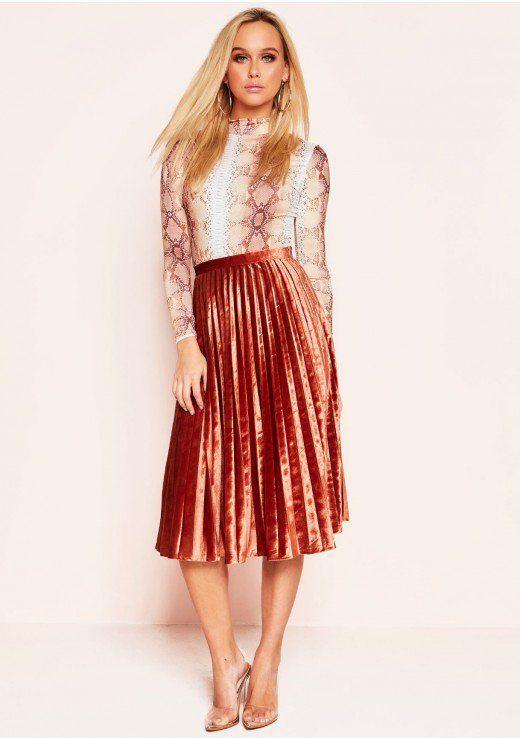 f202fcd9e0b662 Sue Rust Velvet Pleated Midi Skirt | Fashion inspo in 2019 | Skirts ...